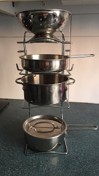 Stainless steel and black cooking pot set for kids play set  Montréal, H1R 2M3