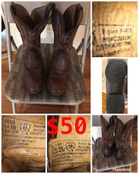 brown Ariat leather cowboy boots collage Grand Prairie, 75052