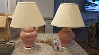 two brown ceramic base table lamps with white lampshades WASHINGTON