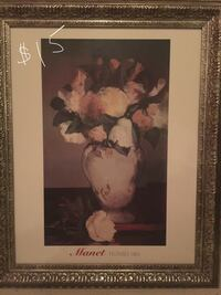 white and red flower painting with brown wooden frame London, N6G 0G8