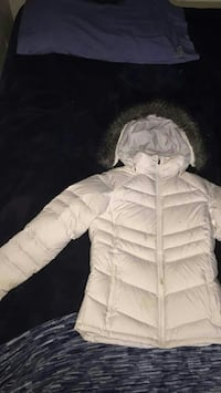 white and black hooded down jacket