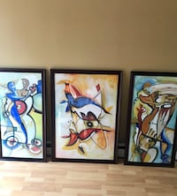 Cherry wood frame paintings 3pcs. Levittown, 11756