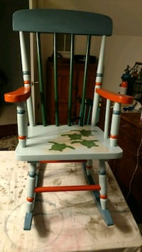 Rocking chair custom painted with turtles