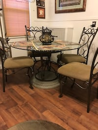 round glass-top dinette set