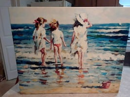 Beautiful painting of children playing in the sand