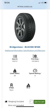 Bridgestone Blizzak WS 80 Winter Tires 195/50R16 New Westminster, V3L 5W4