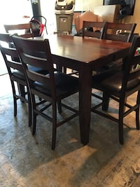 Rectangular brown wooden table with 6 chairs dining set Norton, 02766