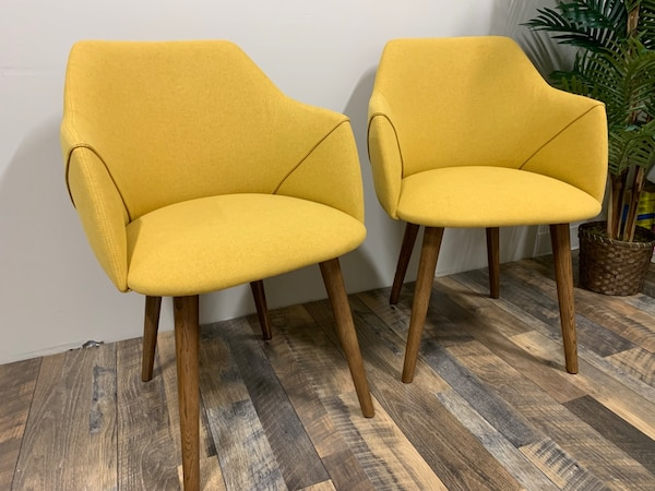 Peachy Set Of Two Yellow Fabric Mid Century Modern Dining Or Accent Chairs With Tapered Legs 33 H X 24 W X 24 D 145 Inzonedesignstudio Interior Chair Design Inzonedesignstudiocom
