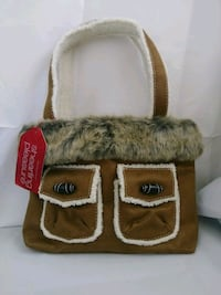 brown and white leather handbag Melbourne, 32901