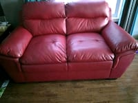 """Couch Red Bounded Leather 2 Seat 68"""" Long Whitchurch-Stouffville, L4A 0J5"""