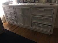 9 drawer dresser real antique wood spray painted in white (comes off) Yonkers, 10708