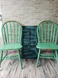 two green wooden windsor chairs Mississauga