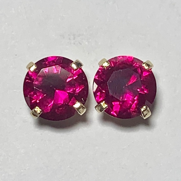 Genuine 14k Yellow Gold Ruby Stud Earrings 02626b80-d1a7-452b-961c-5bc08a8b81b2