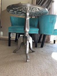 Silver steel accent / side table with glass top Ashburn, 20148