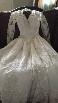 White lace studded long sleeves wedding dress Porter, 49130