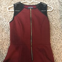 Red and Black Front Zipper Dress Size S/M  Jenison, 49428