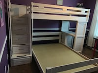 White washed bunk beds with stairs and desk.  Twin on top and full on bottom.  Mattresses are NOT included.  Great condition.  Pickup only.   Buford, 30518