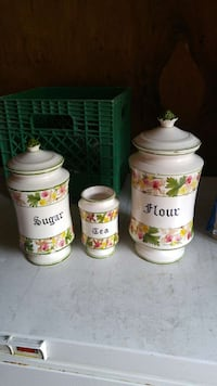 white-pink-and-green floral ceramic containers Guelph, N1G 2S6