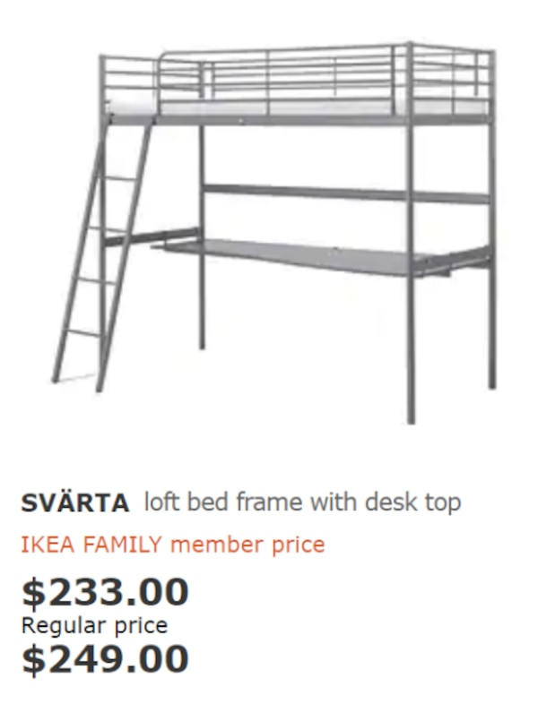 Ikea Svarta Loft Bed With Desk Top