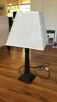 black wooden table lamp with white lampshade Washington, 20024