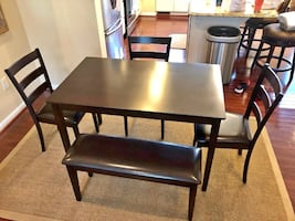 NEW Brown wood dining set dining table set bench chairs