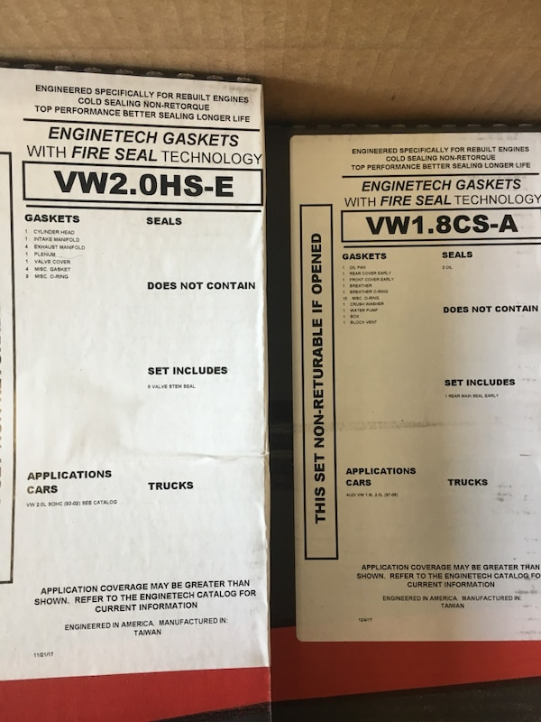 VW 2 0 engine gasket set