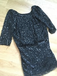 svart scoop-neck 3/4 erm sequin studded mini kjole Hafrsfjord, 4042