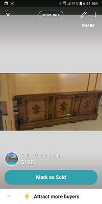 ANTIQUE OAK WOOD FOOTBOARD Hamilton