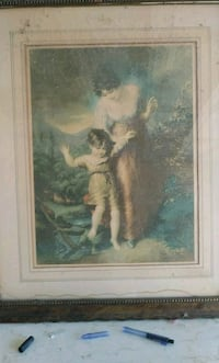 man and woman painting with brown wooden frame Lancaster, 93535
