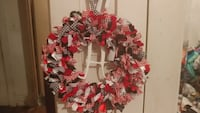 red, white, and black wreath