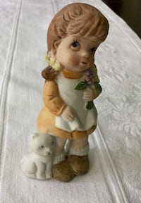 Porcelain figurine girl and her best friend. Made in Taiwan Toronto, M6M 1R1