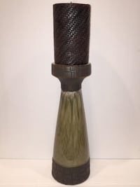 Large Sage/Brown Wicker look Ceramic Candle Holder and Candle  Lansdowne