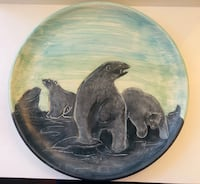 Large signed ceramic decor plate
