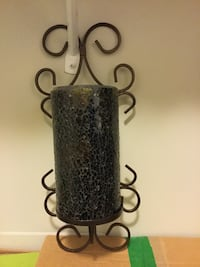 Black metal candle sconce,mosaic glass Vancouver, V6Z