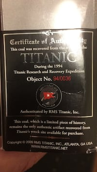 piece of coal from the titanic Fairfax Station, 22039