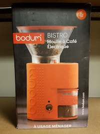 orange and clear Bodum bistro coffee grinder box Roblin, MB R0L 1P0, Canada