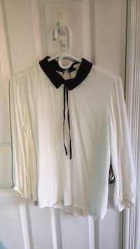 white and black collared long sleeve blouse