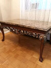 rectangular brown wooden and marble coffee table Toronto