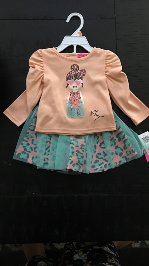 502f48d4004b9 Used girl's beige scoop neck long sleeve woman in tutu dress design shirt  with teal and pink leopard print tulle mini skirt for sale in Kennesaw -  letgo