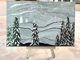 Winter Wonderland Painting on Small Canvas