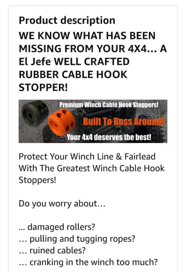 Rubber winch cable stoppers, NEW