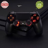 Custom made Brand New Play Station 4 BLACK Controller LED Mod 7 Color Changing + Upgraded Battery Life 2000mAH Springfield