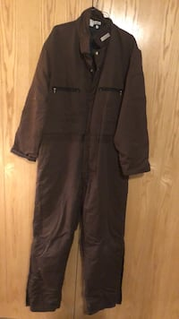 Brown coveralls stay warm when working outside.