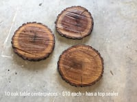 round brown wooden oak table centerpieces