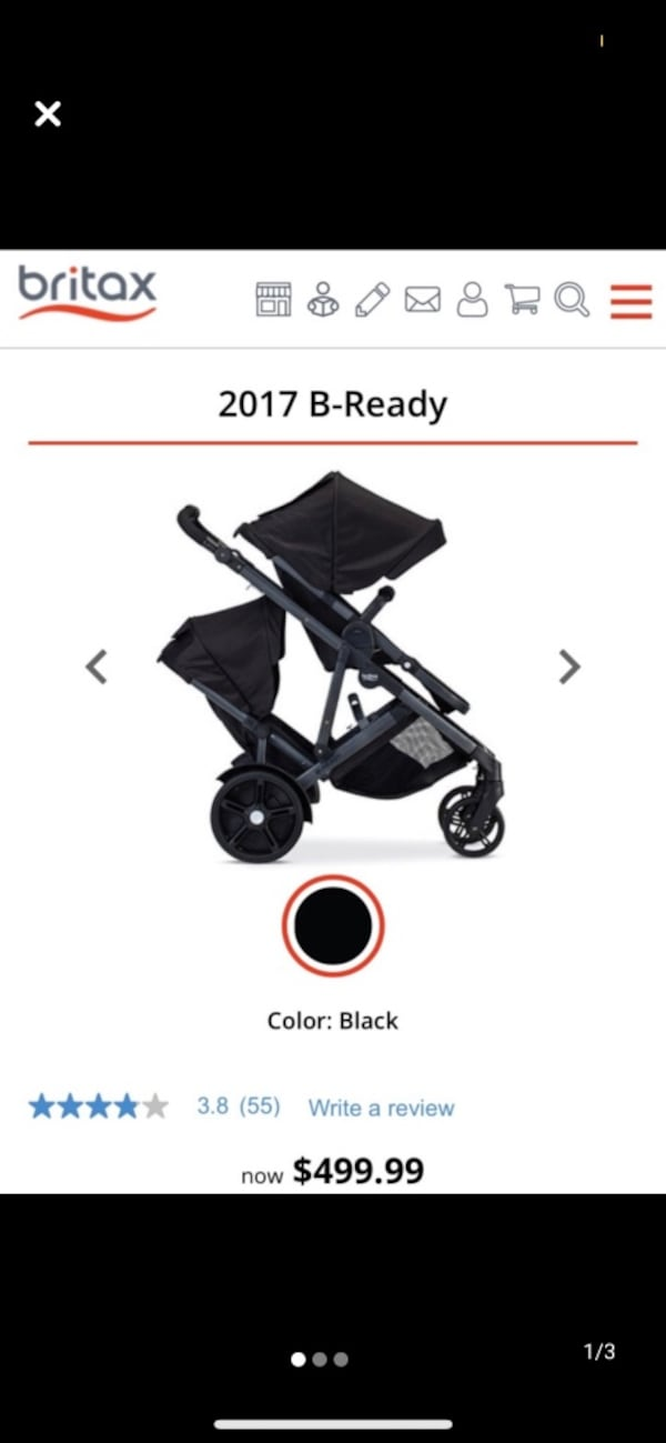Britax Double Stroller - Red/Black 1