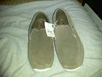 pair of gray suede slip-on shoes
