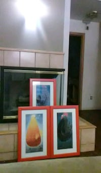 three paintings of roosters with red wooden frames Cedar Rapids, 52405