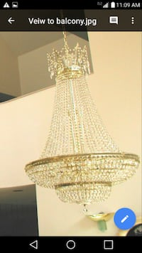"""Schonbek Chandelier Measures: 3' (W) X 42"""" (H) Approx 25 years old Very Good Condition Bohemia"""