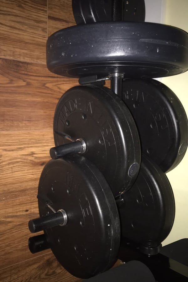 Bench press and weight set 25ad054e-64a7-408b-b841-55268a354bd3