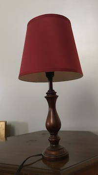 brown wooden base red lamp shade Silver Spring, 20904